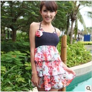 汐歌儿2012新款温泉女式游泳衣抹胸 裙式三角比基尼3件套3315