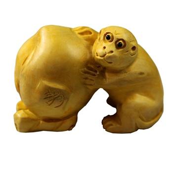 精品黄杨木木雕~小摆件 手把件 ~贺寿猴