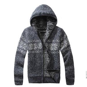 2014春装新款爆款男装 男士加绒毛衣 图腾风连帽开衫外套加厚针织衫 &FDS--117