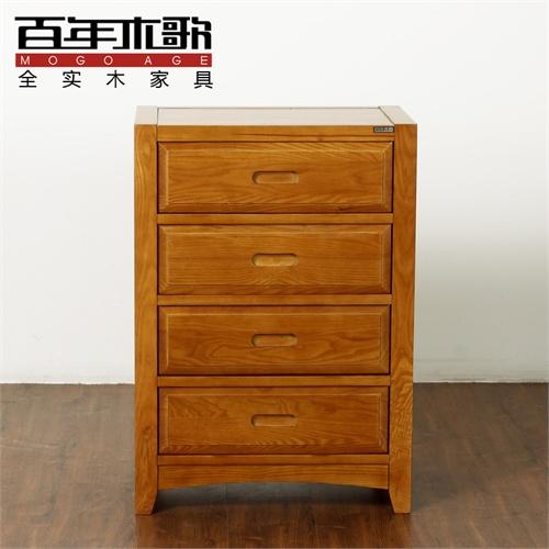 百年木歌 实木斗柜简约斗柜四斗柜中式风格斗橱中式家具wa-p01-4