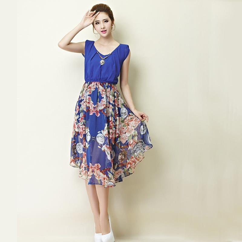 欧美无袖裙子 复古钱币印花不规则时尚连衣裙 女士女款女装服装衣服