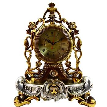 乐唯仕雅典娜镂空雕花欧式复古式树脂静音卧室座钟
