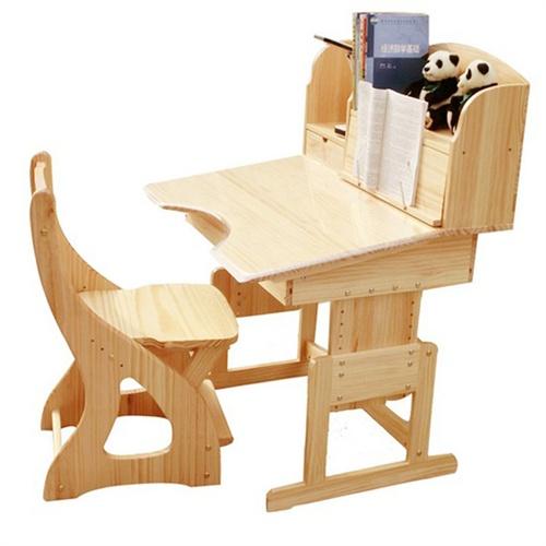 惠万家实木儿童书桌可升降学习桌椅套装矫正坐姿学生