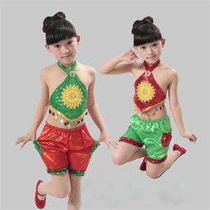 调皮包包 儿童舞蹈服 演出服 葵花肚兜舞台装