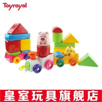 toyroyal日本皇室玩具益智系列动物积木火车859带音乐