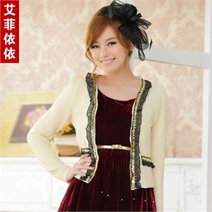 艾菲依依 韩版2014春装新款女装大码金边气质短款百搭披肩婚纱礼服小外套A4733
