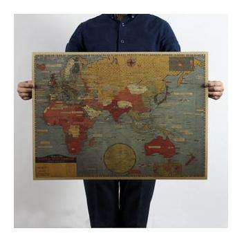 【墨然儿童文具】牛皮纸海报 怀旧复古大地图 世界图
