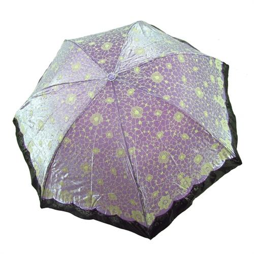 轻巧防晒防紫外线遮阳伞变色闪光布太阳伞雨伞33101e玉枝冰花_浅紫色