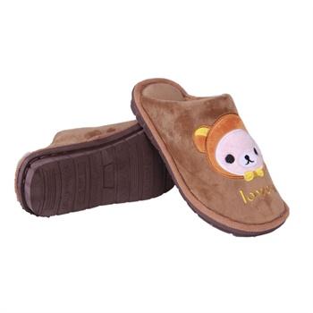 华庭丽娜卡通保暖鞋 小可爱娃娃头像情侣男款家居鞋 包跟皮质防水保暖