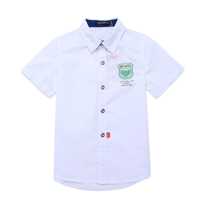季季乐 童装男童夏装2014新款短袖衬衫纯色衬衣dbxc43006_大白,140cm