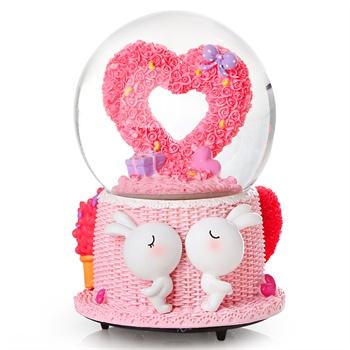 吉满可爱卡通飘雪花水晶球音乐盒创意朋友闺蜜小孩生日礼物精品