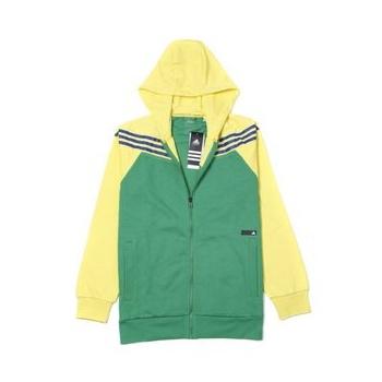 特惠 adidas 阿迪 绿色男子针织连帽拉链夹克 x33258