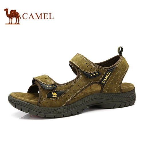 Camel骆驼 男鞋 新款休闲鞋 男凉鞋头层牛皮魔术贴露趾沙滩鞋