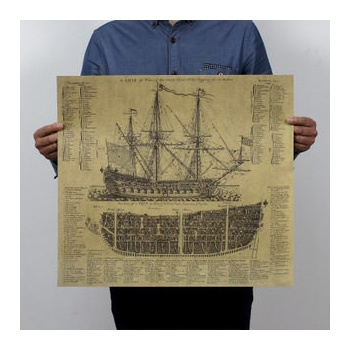 【墨然儿童文具】牛皮纸海报 怀旧复古 帝国古战舰 画