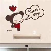 中国娃娃pucca之好心情 新饰线墙贴儿童房墙壁贴纸卡通背景墙图片