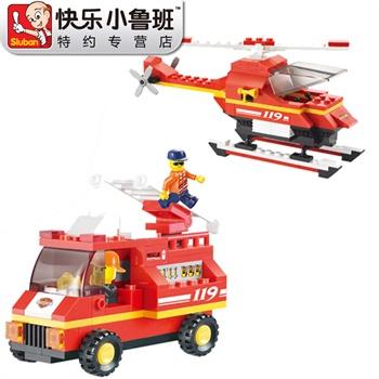 乐高式仿真直升飞机积木消防车