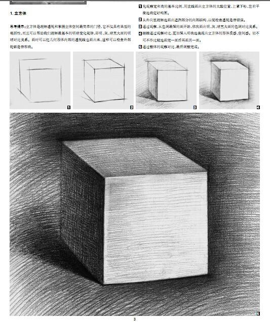 素描基础之几何形体(图2)  素描基础之几何形体(图5)  素描基础之几何形体(图7)  素描基础之几何形体(图9)  素描基础之几何形体(图11)  素描基础之几何形体(图14) 画几何形体是素描初学者的入门课程。通过对几何形体素描的练习,可以使初学者养成对三维空间的表现意识,把立体的对象通过笔、纸等工具在平面的画面上表现出来。在以后的美术学习当中,几乎所有的绘画对象都可以归纳为不同的几何形体及其组合,如果没有几何形体练习的基础,对于以后复杂对象的形体表现就容易出现问题。在描绘对象时如果不能很好地掌握