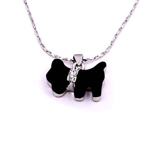 伊泰莲娜 丽晶银色可爱小狗合金项链