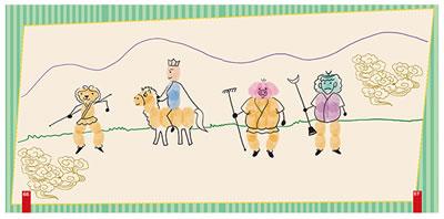 幼儿创意手指画作品大全 中班幼儿线条画作品 幼儿创意车美术作品