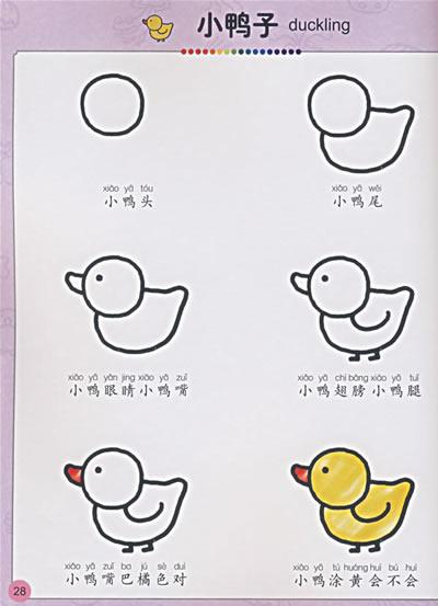 本册为小朋友提供了易看易懂易学的绘画步骤,并配以儿歌,让孩子学起来图片