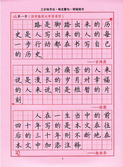 三步练字法 钢笔楷书强化练习图片